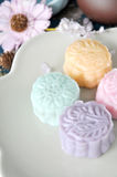 Top View of Colorful Snow Skin Mooncake Stock Photo
