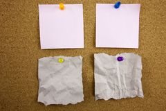 Top view of colorful sticky note papers isolated on white royalty free stock photo