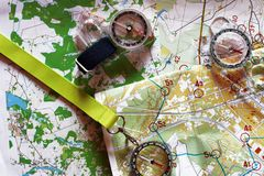 Colorful topographic map for orienteering. Top view of colorful topographic map for orienteering or rogaining sport and compass. Concept of orenteering and Royalty Free Stock Photos