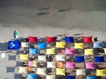 Top View of Colorful Umbrellas in a Beach Royalty Free Stock Photo