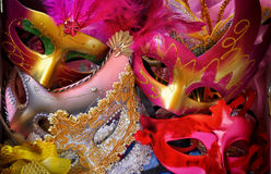 Top view of colorful Venetian masquerade masks. retro filtered image Royalty Free Stock Photography