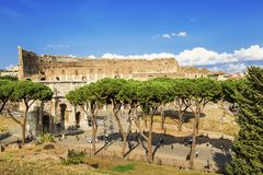 Top view of the Colosseum and the Arch of Constantine, Rome. Italy Royalty Free Stock Photos