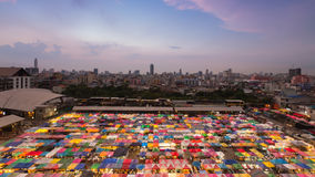 Top view of colourful city flea market skyline Stock Images