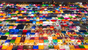 Top view of colourful flea market at night Royalty Free Stock Image