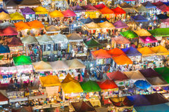 Top view colourful over Weekend market at night Royalty Free Stock Photos