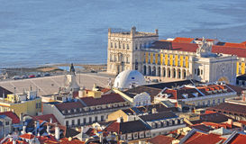 Top view of the Commerce square in Lisbon, Portugal Stock Photo