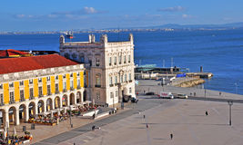 Top view of the Commerce square in Lisbon Stock Image