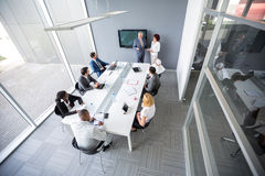 Top view of company meeting royalty free stock image