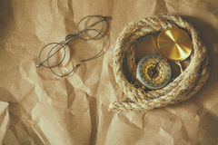 Top view of compass, rope, old glasses Royalty Free Stock Photography