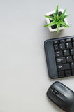 Top view of computer keyboard and mouse Stock Photo