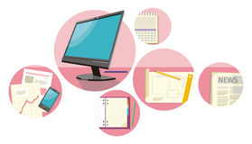 Top view computer, papers with numbers and charts. Top view monitor computer, notepad, pen over papers with numbers and charts on a desktop in office. View from Royalty Free Stock Images
