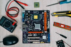 Top view of computer parts and devices Stock Photos