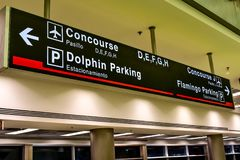 Top view of Concourse D,E,F,G, H sign at Miami International Airport . Miami, Florida. January 05, 2019. Top view of Concourse D,E,F,G, H sign at Miami royalty free stock photo