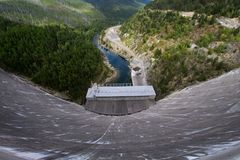 Top View of Concrete Dam during Daytime Royalty Free Stock Photography