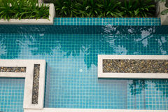Top view of a condo swimming pool Royalty Free Stock Image