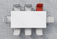 Top View of a conference room. A white rectangular table and eight chairs around, one of them is red. Office interior. 3D renderin Stock Photos