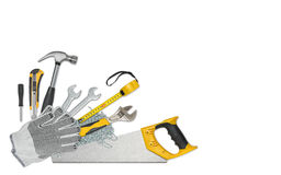 Top view of construction instruments and tools isolated on white background with open space. Level, tape measure, wrench Royalty Free Stock Photo