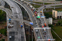 Top view on construction of ring road Stock Photo