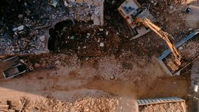 Top view on construction site demolition machinery