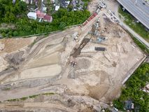 The top view of the construction site at the initial stage stock photo