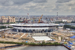 Top view of construction site sports facility, modern football s Royalty Free Stock Image