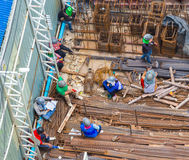 Top view of construction workers labor. Royalty Free Stock Image