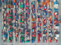 Top view for container stack Royalty Free Stock Images