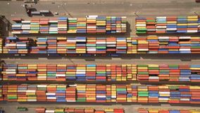 Top view of container terminal. Aerial view of container terminal stock video