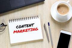 Top view of Content Marketing wording on office desk with notebo Royalty Free Stock Photos