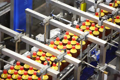 Top view of conveyor with bottles with fresh light beer Royalty Free Stock Photos