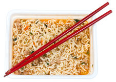 Top view of cooked instant noodles Stock Photos