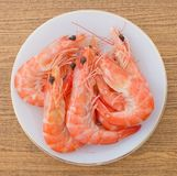 Top View of Cooked Prawns or Tiger Shrimps Royalty Free Stock Image