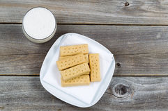Top view of cookies and rich milk Stock Photography