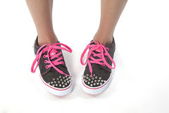 Top view of cool young girl shoes Stock Images