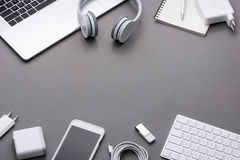 Top view with copy space. Office desk of business workplace. Stock Photos