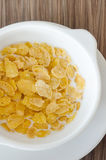 Top view corn flake in bowl Royalty Free Stock Photo