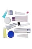 Top-view cosmetic containers Stock Photos