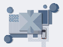 Top view of a country with house, courtyard, lawn and garage. Top view of a house. Monochrome Vector illustration. Top view of houses, roofs. Modern, high-tech Stock Photos