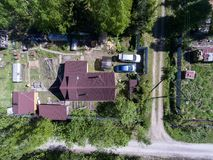 Top view at the country houses in Russian village at summer season Royalty Free Stock Photography