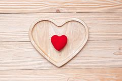 Top view couple heart shape on wooden table. love, romantic and Valentine Day holiday royalty free stock images