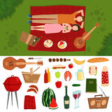 Top view of couple in love lying on picnic plaid barbecue outdoor icons and romantic date people cooking summer food. Character vector illustration. Barbeque vector illustration