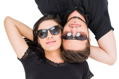 Top view of couple wearing sunglasses or shades Stock Photos