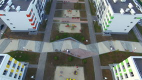 Top view of the courtyard. Aerial shooting. Top view of the courtyard of the new modern district. Aerial shooting stock video
