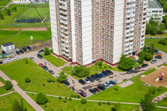 Top view of courtyard of apartment house with car in Moscow, Russia Royalty Free Stock Photo