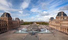 The top view on a courtyard of the Louvre. And a glass pyramid, Paris, France Royalty Free Stock Images