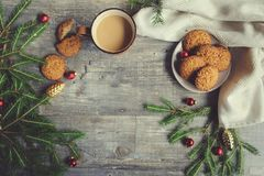 Top view of cozy Christmas and winter setting with homemade cookies Royalty Free Stock Images
