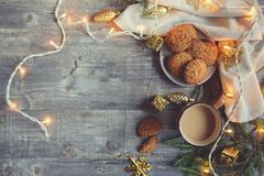 Top view of cozy Christmas and winter setting with homemade cookies Stock Images