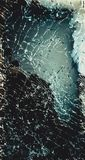 Top view cracked broken mobile screen glass.  royalty free stock photography