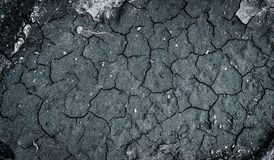 Top view of cracked soil. Background of dry soil with cracks. Top view of cracked soil. Background of dry black soil with cracks stock photo
