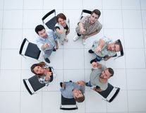 Top view.creative business group pointing to you. The concept of choice royalty free stock photo